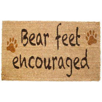 18 in. x 30 in. Bear Feet Vinyl Back Coco Door Mat