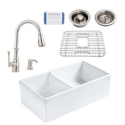 Brooks All-in-One Farmhouse Apron Fireclay 33 in. 60/40 Double Bowl Kitchen Sink with Pfister Wheaton Faucet and Drains