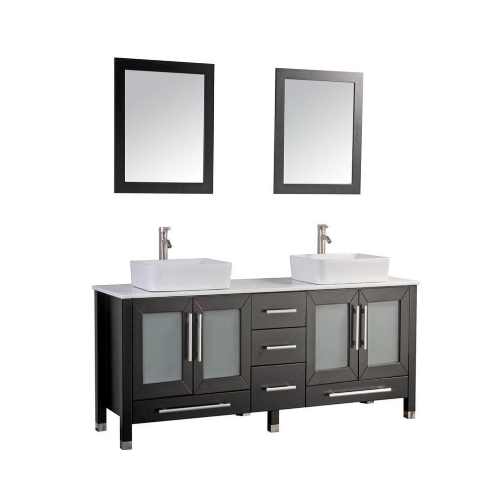 MTD Vanities Mesina 61 in. W x 20 in. D x 36 in. H Vanity in Espresso with Ceramic Vanity Top in White with White Basin