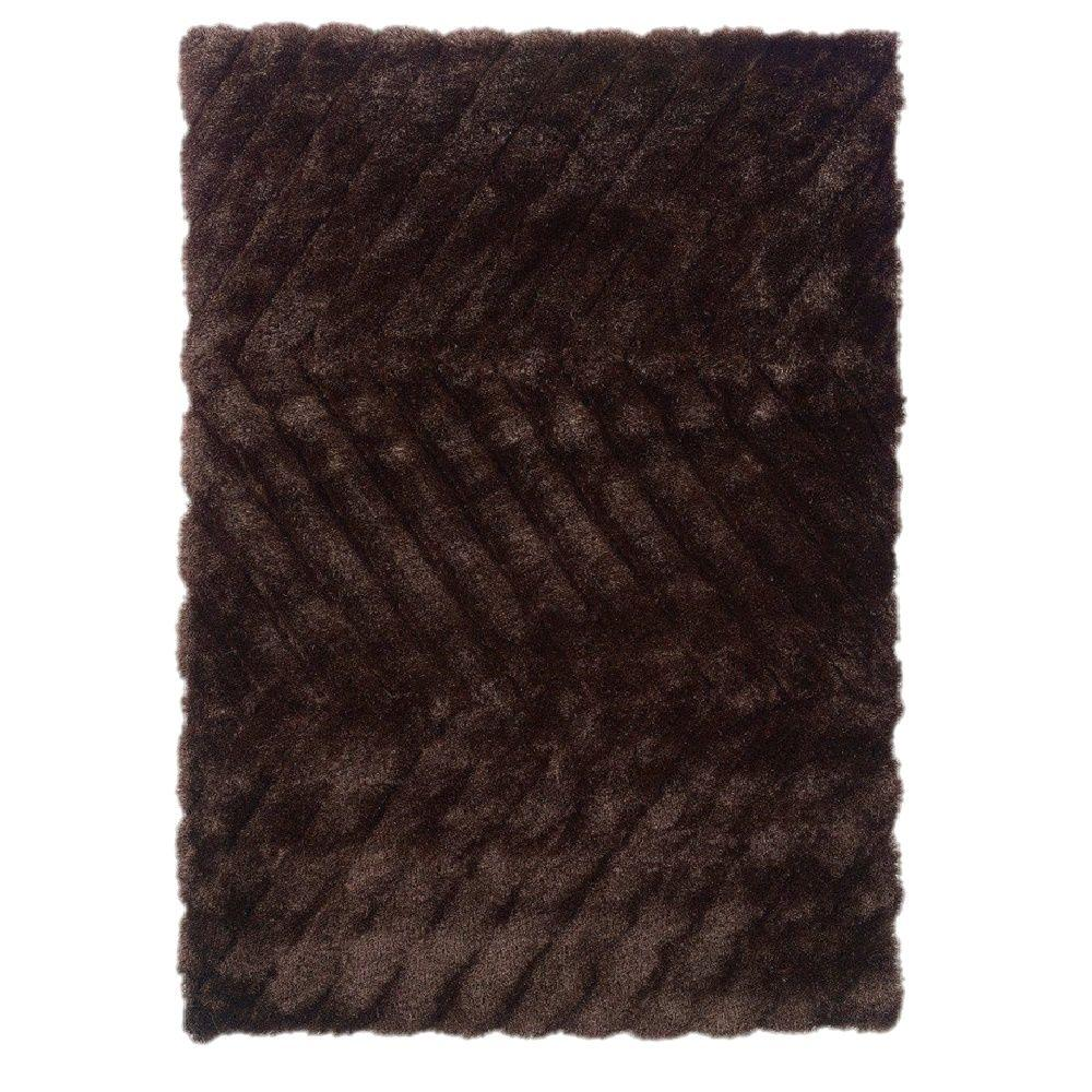 Linon Home Decor Links Collection Chocolate ZigZag 1 ft. 10 in. x 2 ft. 10 in. Indoor Area Rug