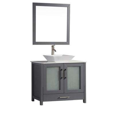 Jordan 36 in. W x 18.5 in. D x 36 in. H Vanity in Grey with Quartz Vanity Top in Off-White with White Basin and Mirror
