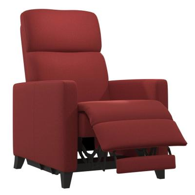 Power Wall Hugger Brick Red Plush Low-Pile Velour Reclining Chair with USB Port
