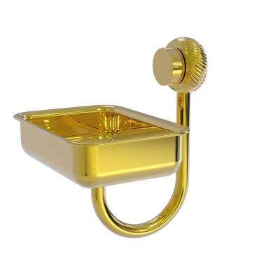Venus Collection Wall Mounted Soap Dish with Twisted Accents in Polished Brass