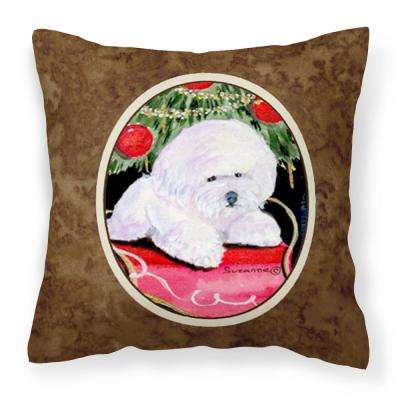 14 in. x 14 in. Multi-Color Lumbar Outdoor Throw Pillow Christmas Tree Bichon Frise Decorative Canvas Fabric Pillow