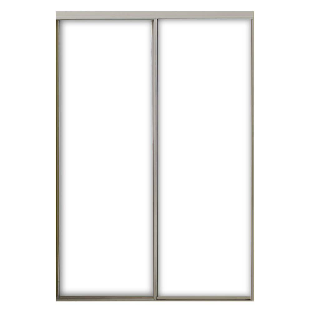 47 in. x 80-1/2 in. Aspen Gloss White Steel Frame Prefinished White Hardboard Panels Interior Sliding Door