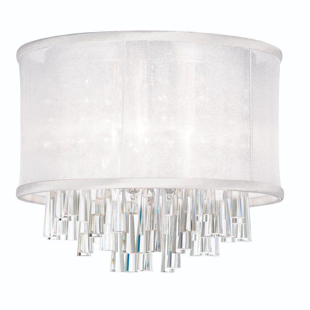 Radionic Hi Tech Josephine 4-Light Polished Chrome Crystal Flushmount with White Organza Drum Shade