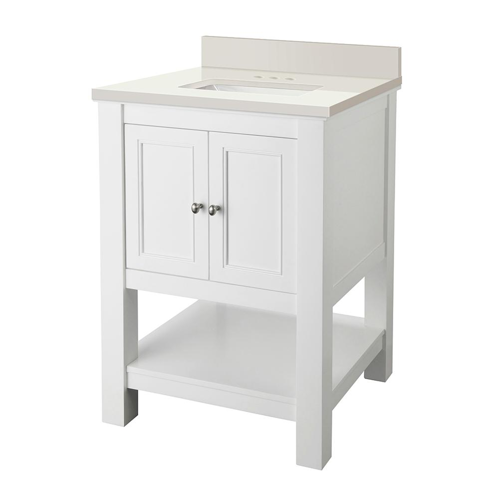 Home Decorators Collection Gazette 25 in. W x 22 in. D Vanity in White with Engineered Marble Vanity Top in Winter White with White Sink was $499.0 now $349.3 (30.0% off)