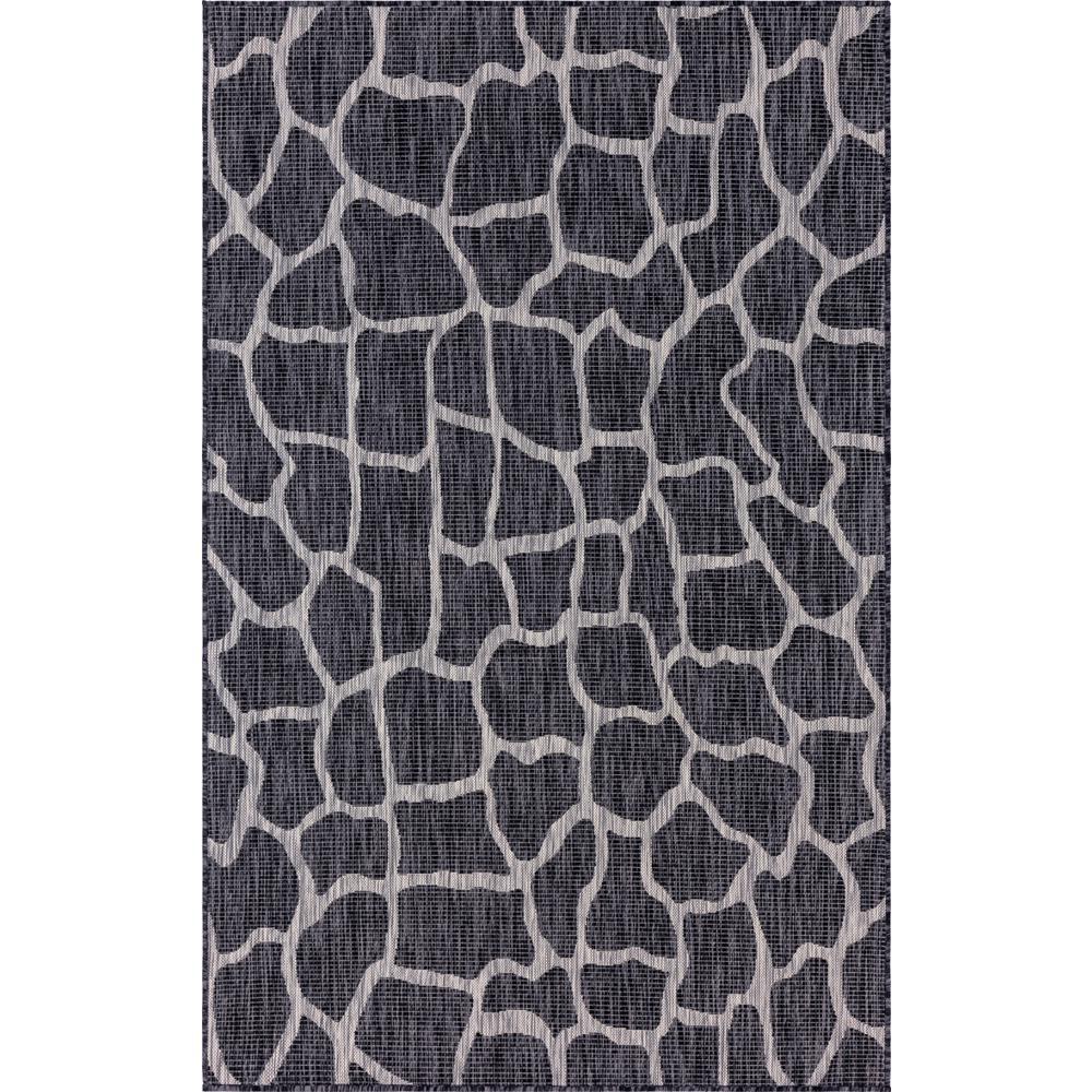 Outdoor Giraffe Dark Gray 7 ft. x 10 ft. Area Rug