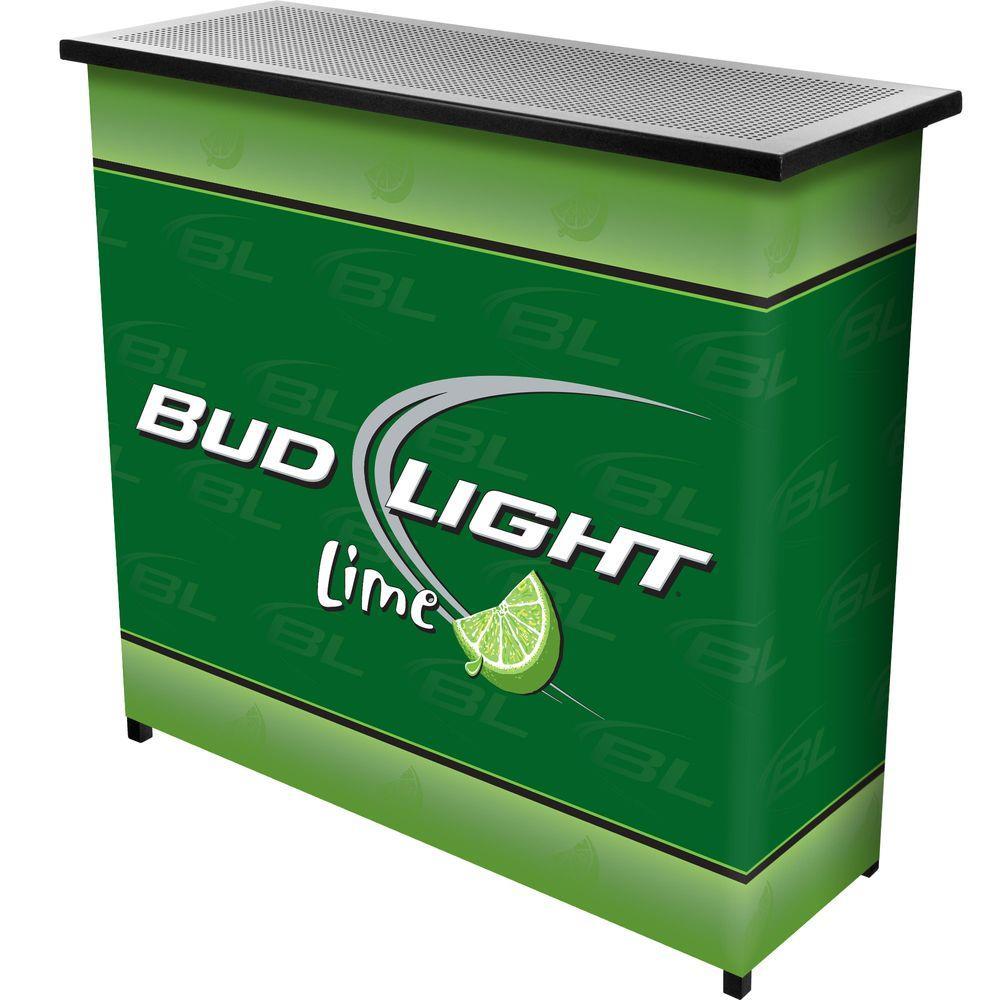 Bud Light Lime 2-Shelf Green Bar with Case