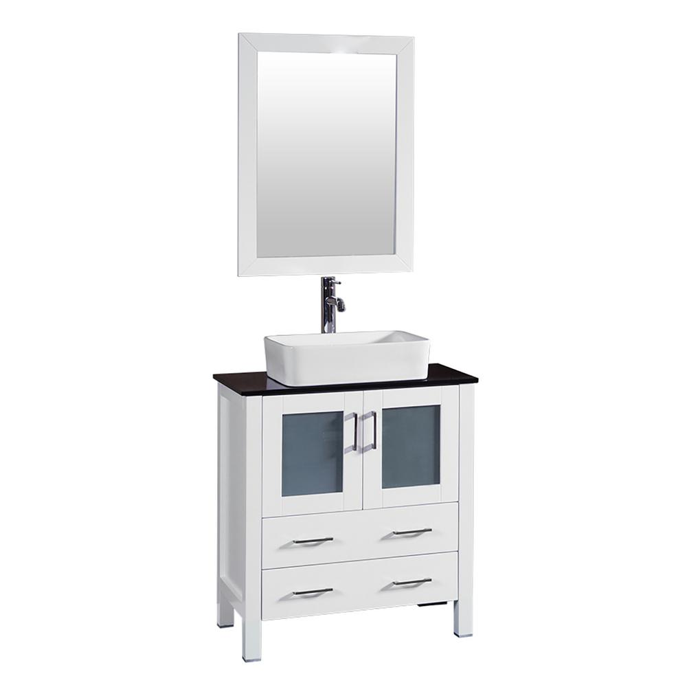 Bosconi 30 in. W Single Bath Vanity in White with Tempered Glass Vanity Top with White Basin and Mirror