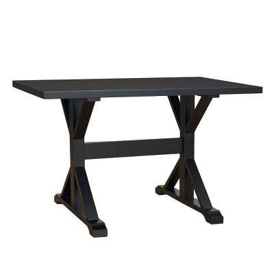 Florence Antique Black Trestle Table