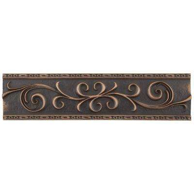 Contempo Venetian Bronze Scroll Liner 3 in. x 12 in. Mixed Material Wall Trim Tile