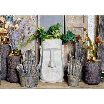 15 in. x 10 in. White Fiber Clay Stone Face Planter