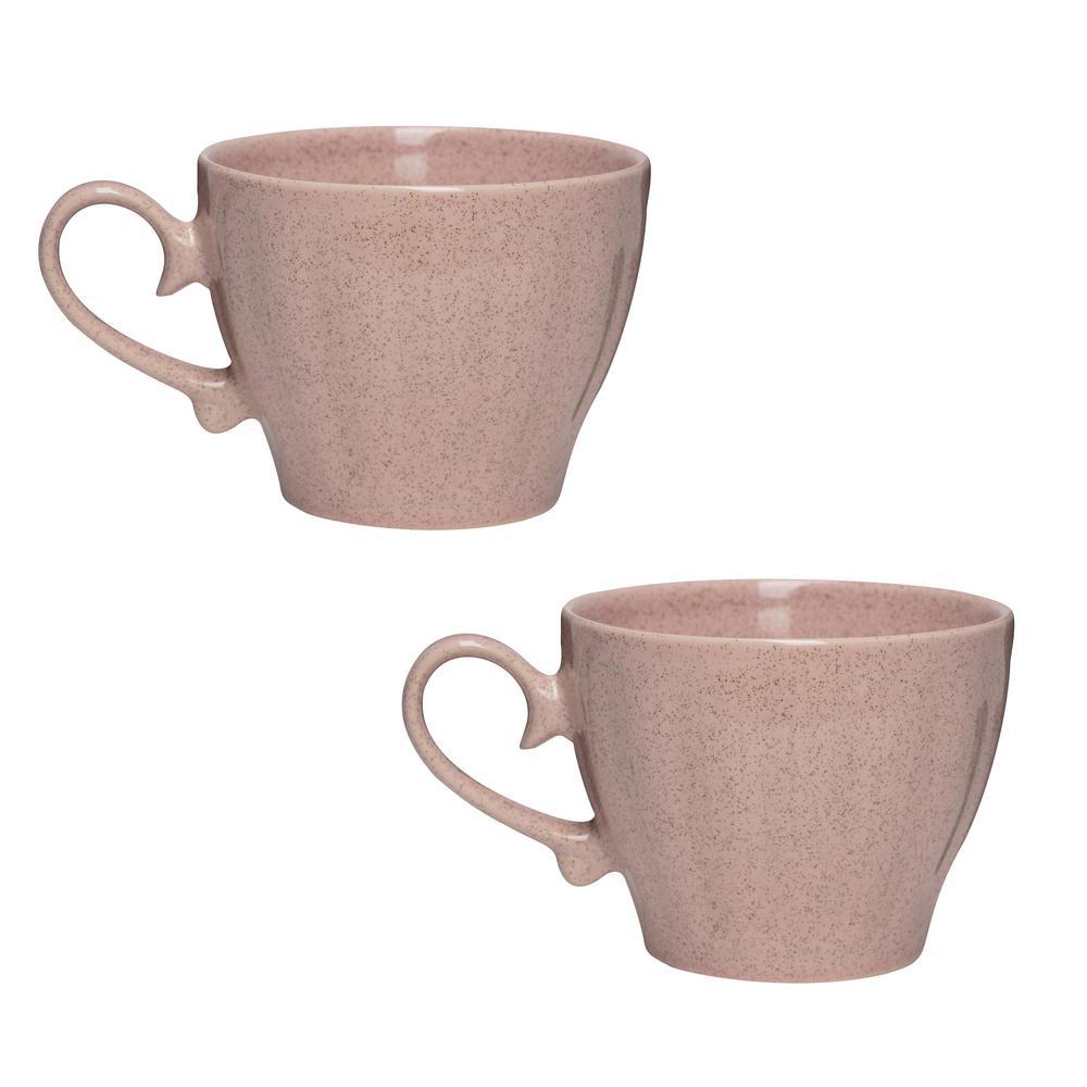 Primitive Travertine 18 oz. Pink Ceramic Coffee Mug (Set of 2)