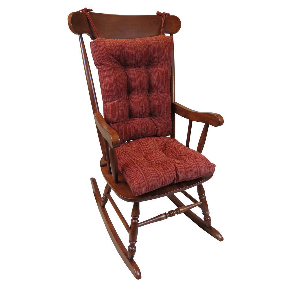 Gripper Polar Chenille Garnet Jumbo Rocking Chair Cushion Set by