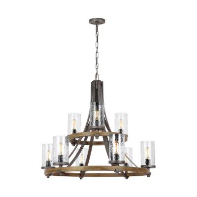 Angelo 32.75 in. W. 9-Light Distressed Weathered Oak and Slate Grey Metal Chandelier with Clear Thick Wavy Glass