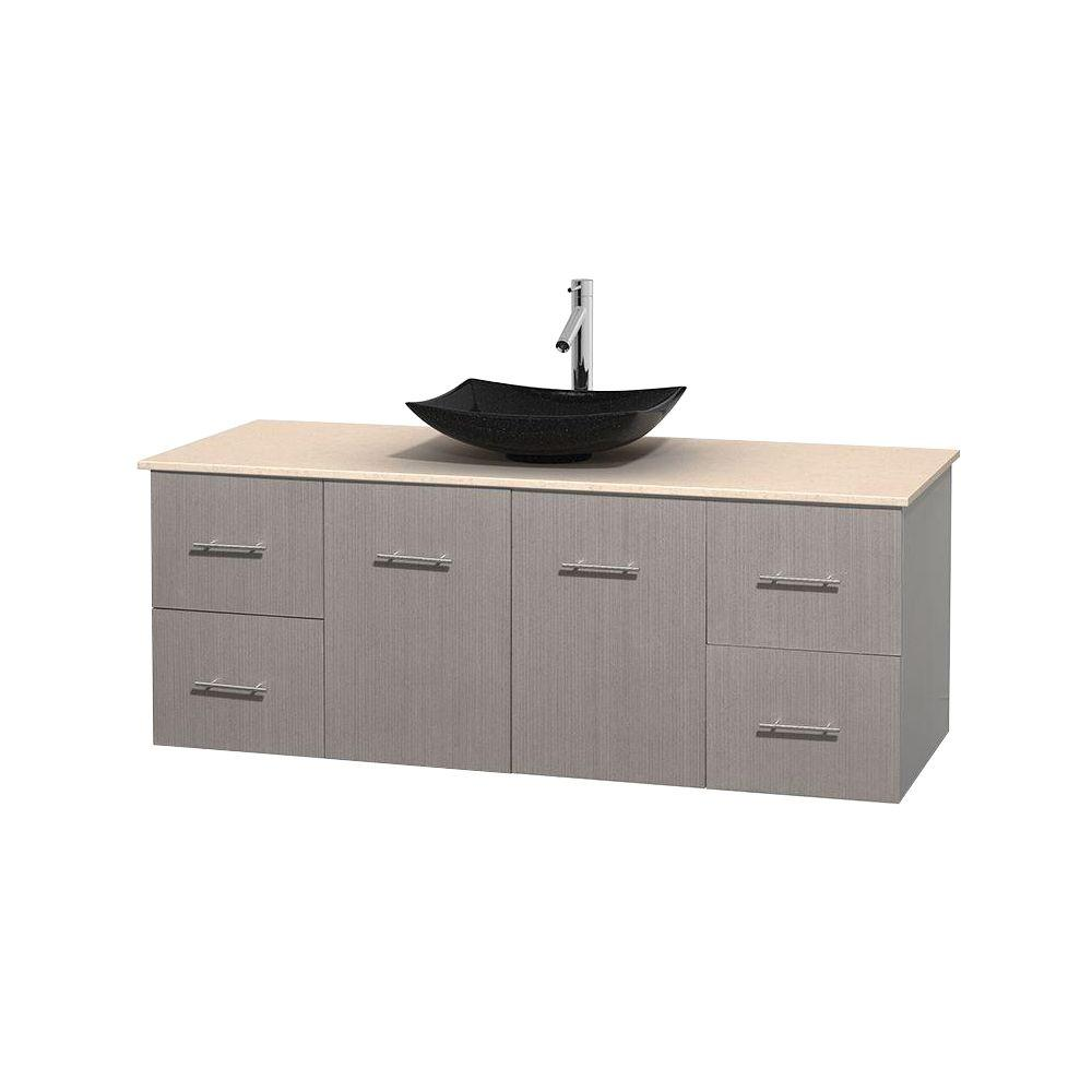 Wyndham Collection Centra 60 in. Vanity in Gray Oak with Marble Vanity Top in Ivory and Black Granite Sink