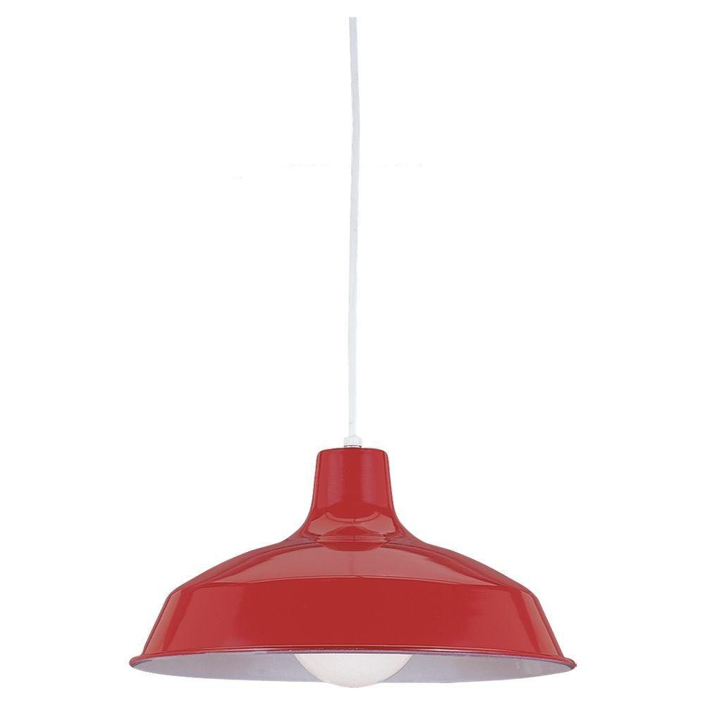 Sea Gull Lighting 1-Light Red Pendant with Painted Shade
