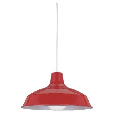 1-Light Red Pendant with Painted Shade