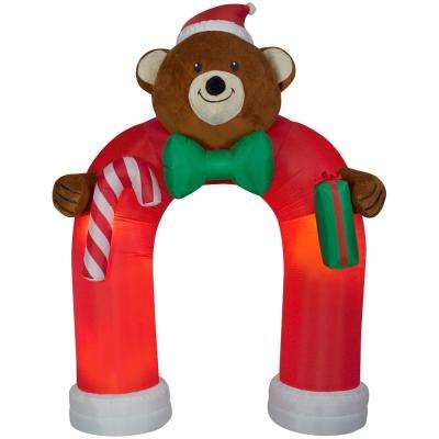 Holiday 11 ft. H x 8 ft. W Animated Inflatable Airblown Plush Teddy Bear Archway with Wiggling Bow Tie