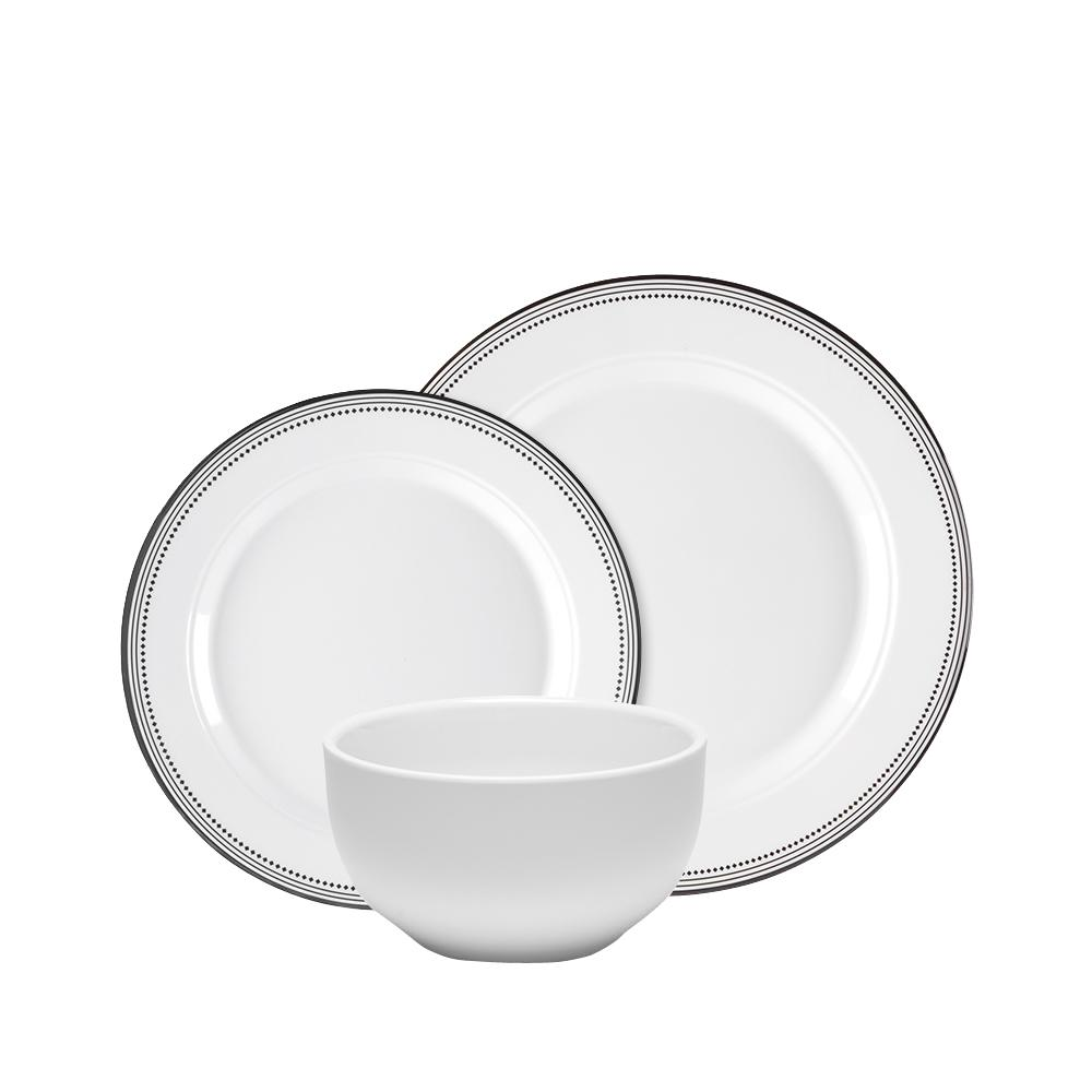 Q Squared Classica 12-Piece Dinnerware Set in White with Black Border  sc 1 st  The Home Depot & Q Squared Classica 12-Piece Dinnerware Set in White with Black ...