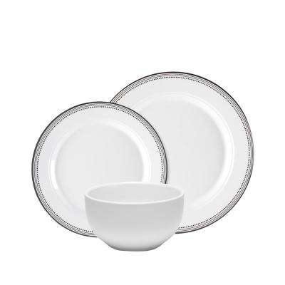 Classica 12-Piece Dinnerware Set in White with Black Border