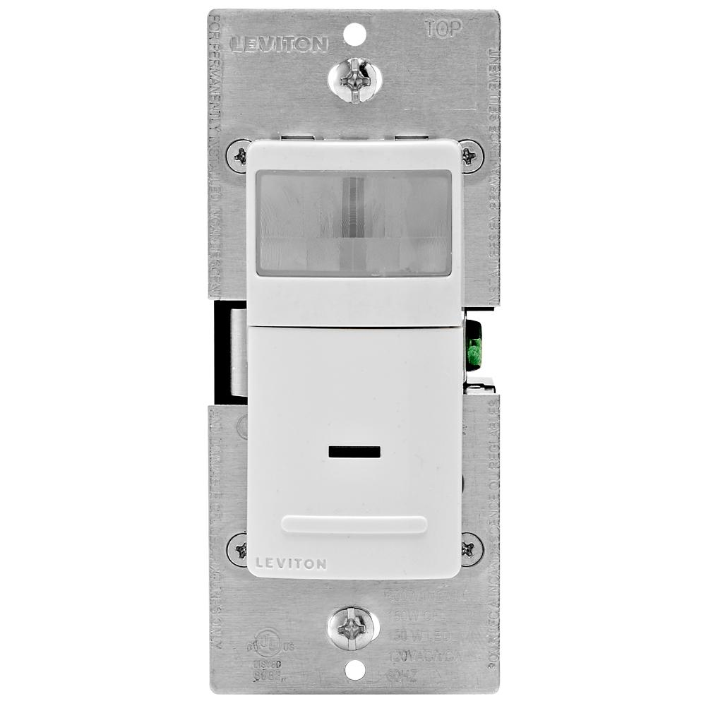 Leviton Leviton Decora Vacancy Motion Sensor In-Wall Switch, Manual-On, 15 A, Single Pole or 3-Way, White/Ivory/Lt Almond, White/ Ivory/ Light Almond