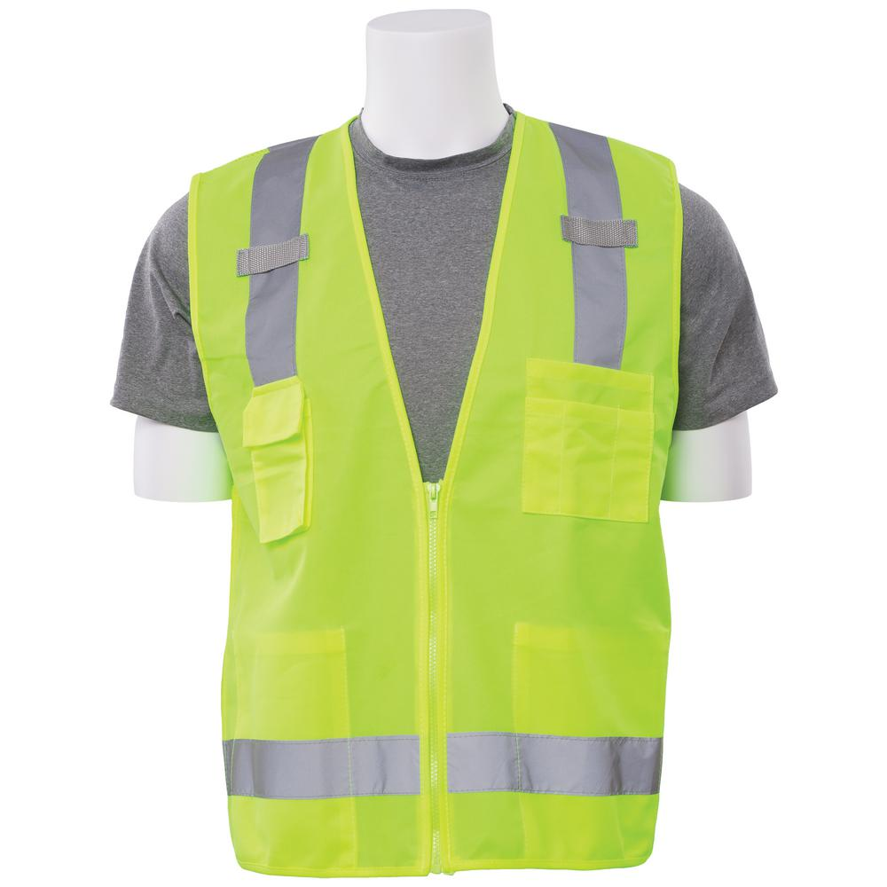S205 5X Class 2 Poly Tricot/Mesh Surveyor Hi Viz Lime Vest