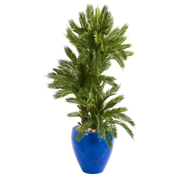 Nearly Natural Indoor 4-Ft. Triple Cycas Artificial Plant in Blue Planter