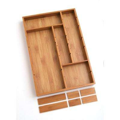 12 in. W x 17-1/2 in. D x 1-3/4 in. H Bamboo Adjustable Drawer Organizer with 6-Removable Dividers