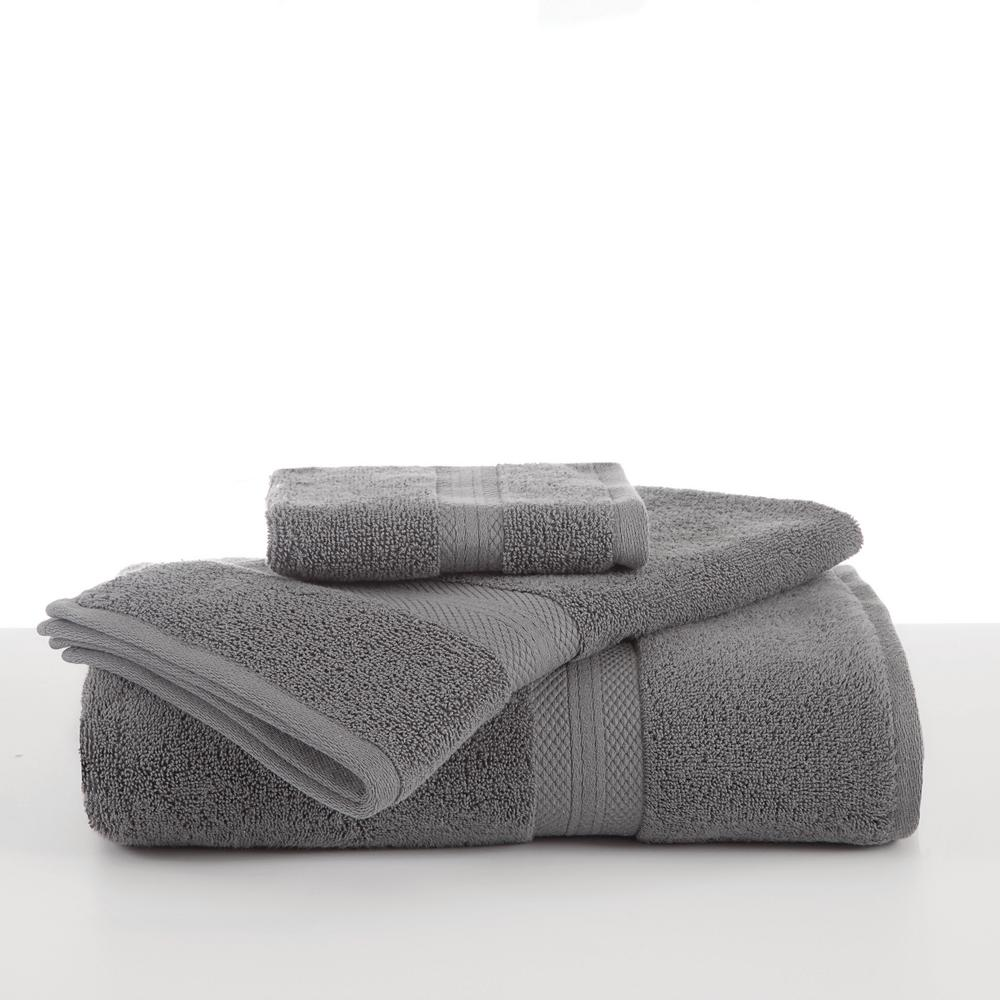 Abundance Cotton Blend Hand Towel in Boulder Grey
