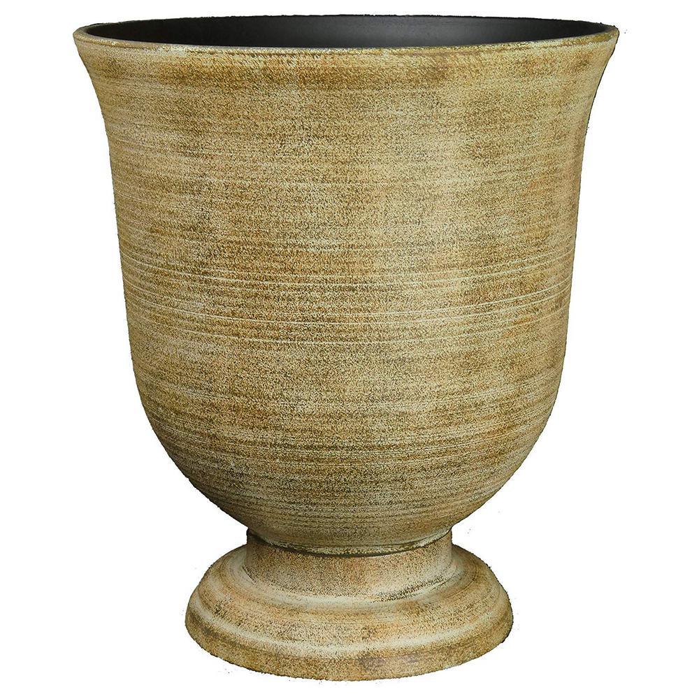 16 in. Striated Fossil Resin Greenwich Urn Planter