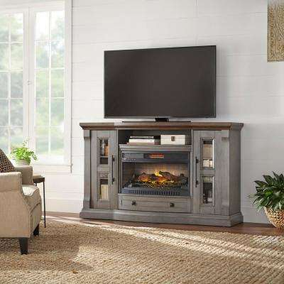 Avionna 65 in. Media Console Infrared Electric Fireplace in Dusty Gray with Mocha Top Finish