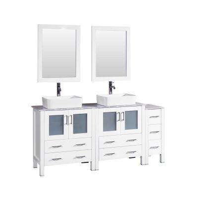 72 in. W Double Bath Vanity in White with Carrara Marble Vanity Top with White Basin and Mirror