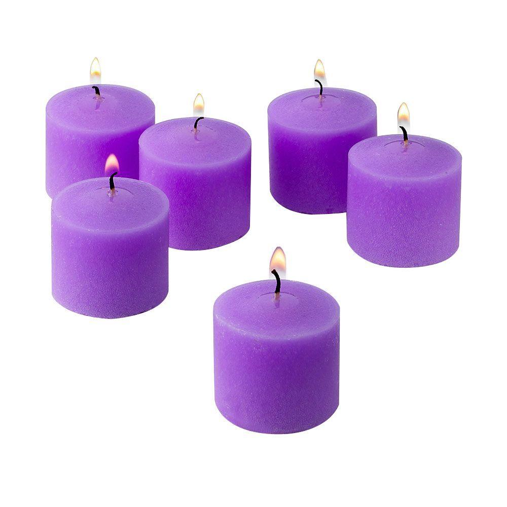 10 Hour Lavender Unscented Votive Candles (Set of 12)