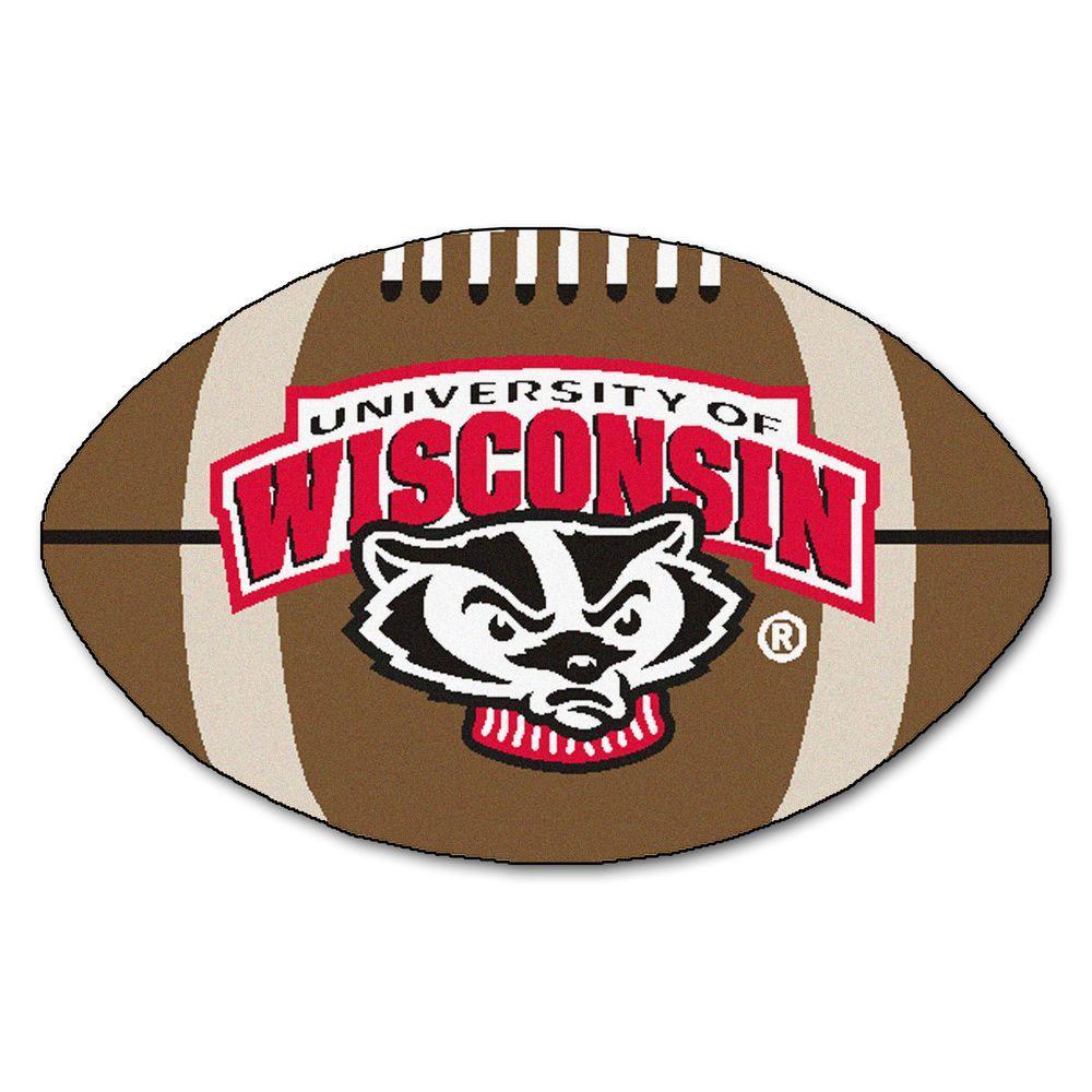 Fanmats Ncaa University Of Wisconsin Badger Logo Brown 1