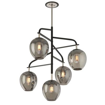 Odyssey 5-Light Carbide Black and Polished Nickel Pendant