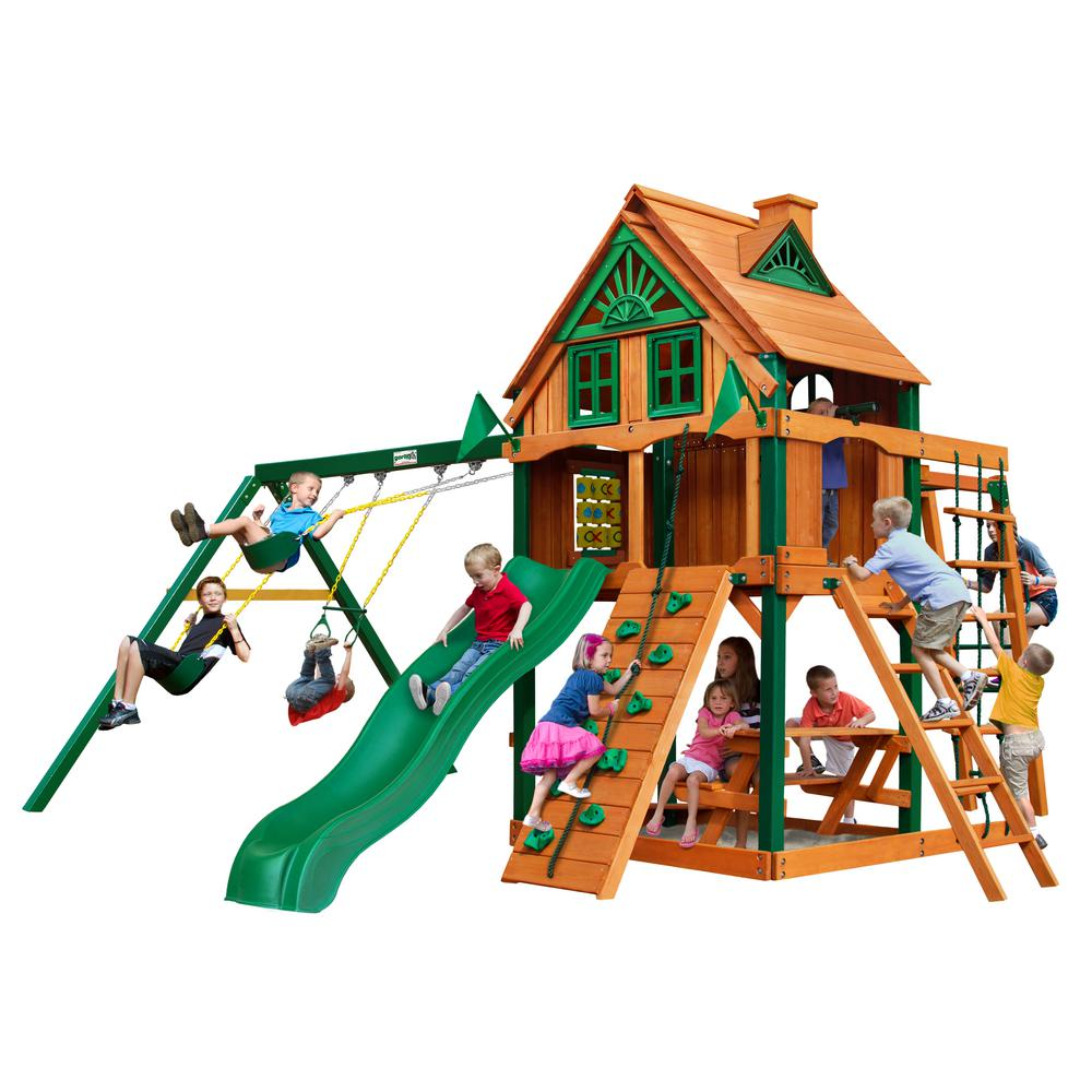 Gorilla Playsets Navigator Treehouse Wooden Swing Set with Fort Add-On, Timber ShieldPosts, and Monkey Bars