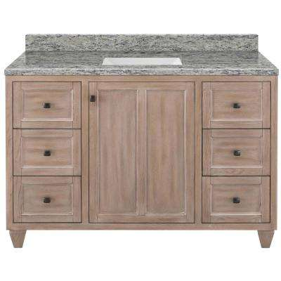 Banks 49 in. W x 22 in. D Bath Vanity in Antique Ash with Granite Vanity Top in Santa Cecilia with White Sink
