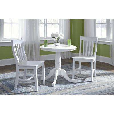 30 in. Pure White Round Solid Pedestal Table