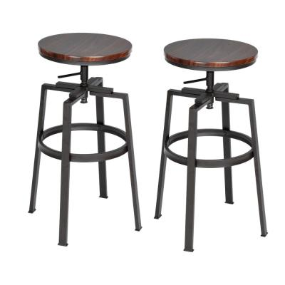 Amat 24-28.9 in. Walnut Color Industrial Style Bar Stool (Set of 2)