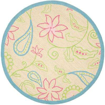Kids Ivory/Blue 6 ft. x 6 ft. Round Area Rug
