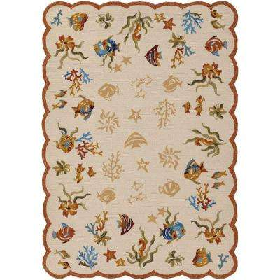 Outdoor Escape Coral Dive Sand 2 ft. x 4 ft. Area Rug