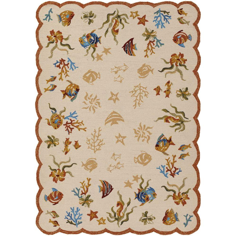 Couristan Outdoor Escape Coral Dive Sand 3 ft. 6 in. x 5 ft. 6 in. Area Rug