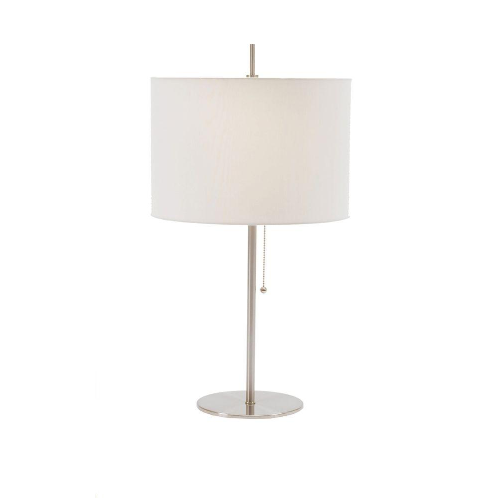 Charmant Brushed Steel Metal Table Lamp With Pull Chain