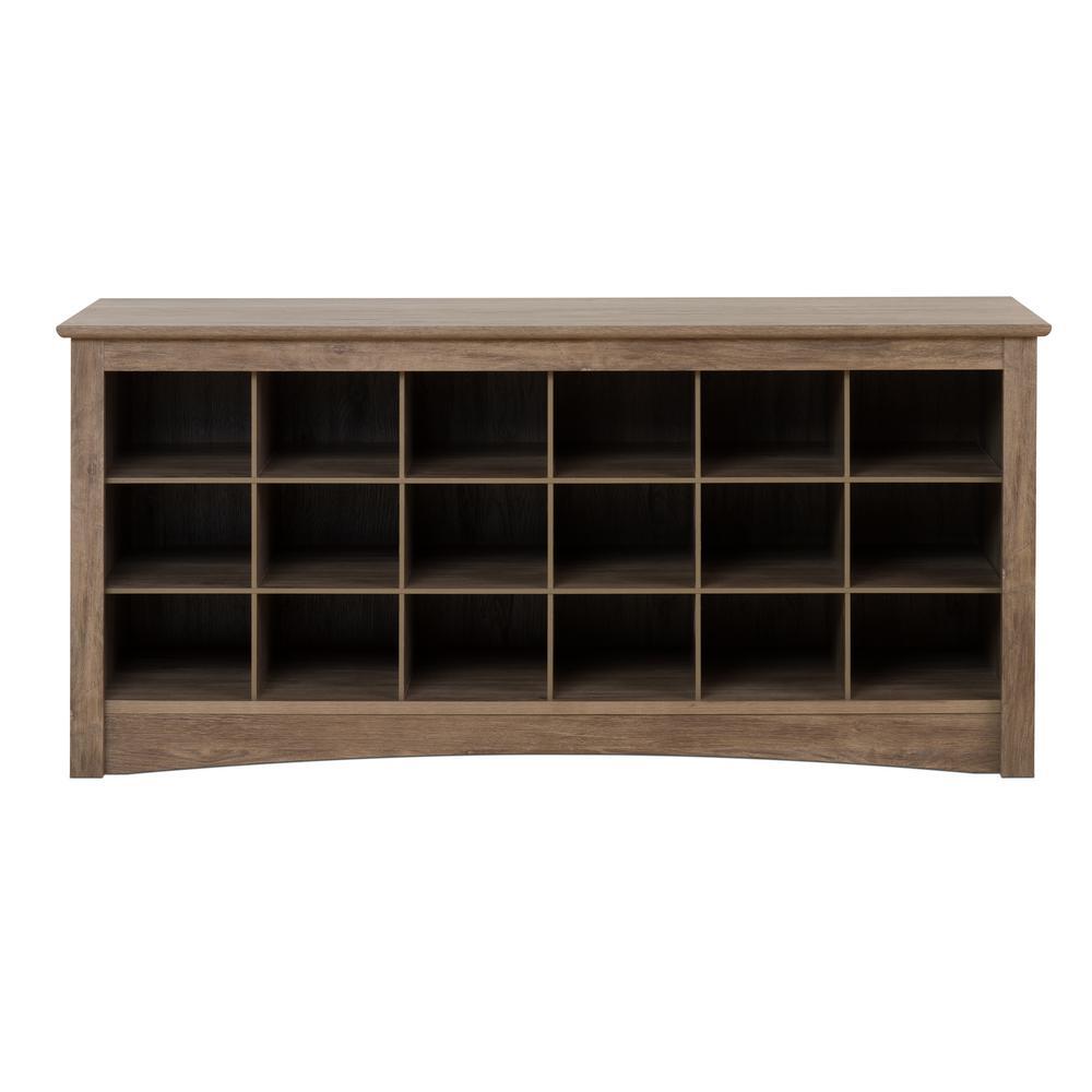 24 in. H x 48 in. W x 16 in. D Drifted Grey Wood Look 18-Cube Storage Organizer