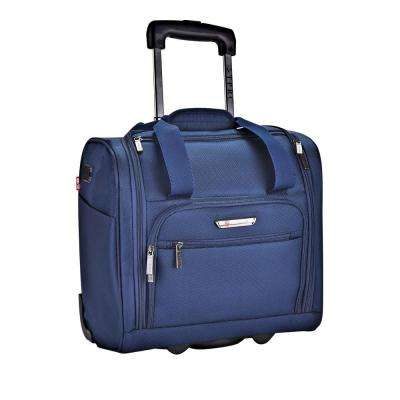 15 in. Navy Underseater Carry-On Rolling Briefcase with 2-in-1 Function (USB Port Built in for Charging)