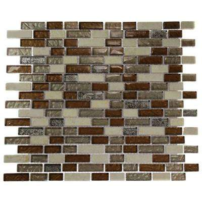 Suede Shoe Brick Pattern 12 in. x 12 in. x 8 mm Marble and Glass Mosaic Floor and Wall Tile