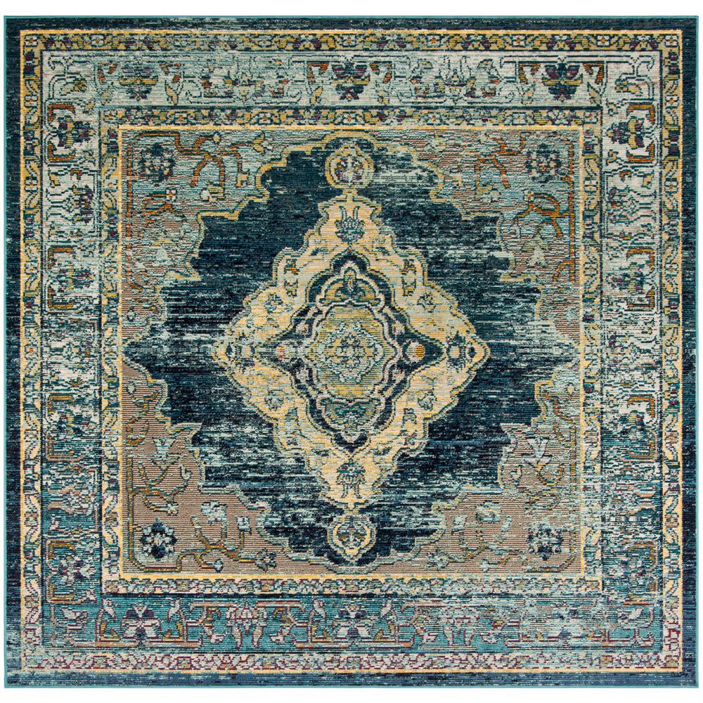 Safavieh Crystal Blue Yellow 7 Ft X 7 Ft Square Area Rug