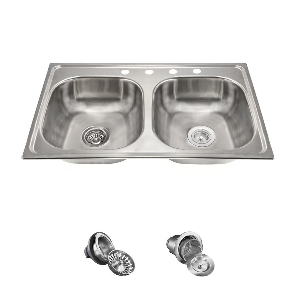 MR Direct All-in-One Drop-in Stainless Steel 33 in. 4-Hole Double ...